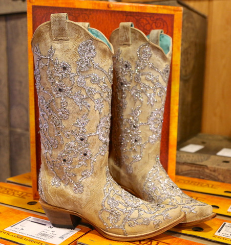 Corral Bone Glitter Overlay Embroidery and Crystals Boots C3356 Image