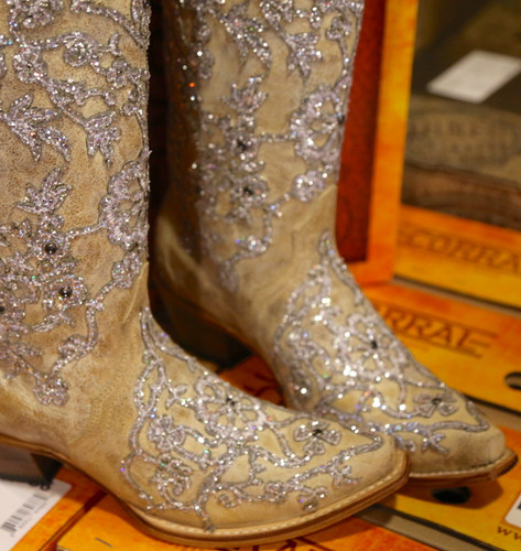 Corral Bone Glitter Overlay Embroidery and Crystals Boots C3356 Toe