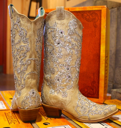 Corral Bone Glitter Overlay Embroidery and Crystals Boots C3356 Heel