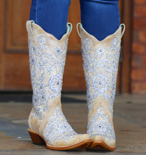 Corral Bone Glitter Overlay Embroidery and Crystals Boots C3356 Outside 1