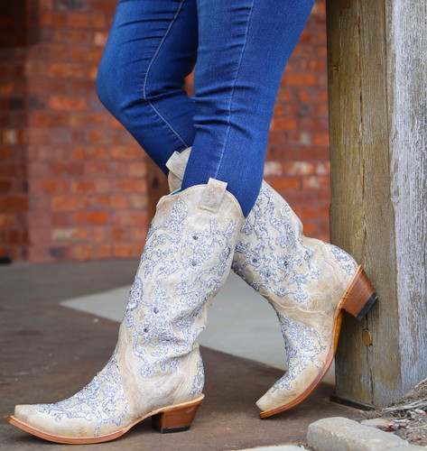 Corral Bone Glitter Overlay Embroidery and Crystals Boots C3356 Outside 2