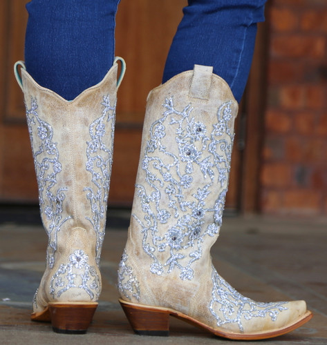 Corral Bone Glitter Overlay Embroidery and Crystals Boots C3356 Outside 3