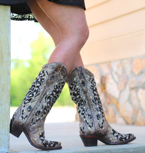 Corral Brown Black Inlay Floral Embroidery Studs and Crystals Boots A3569 Image