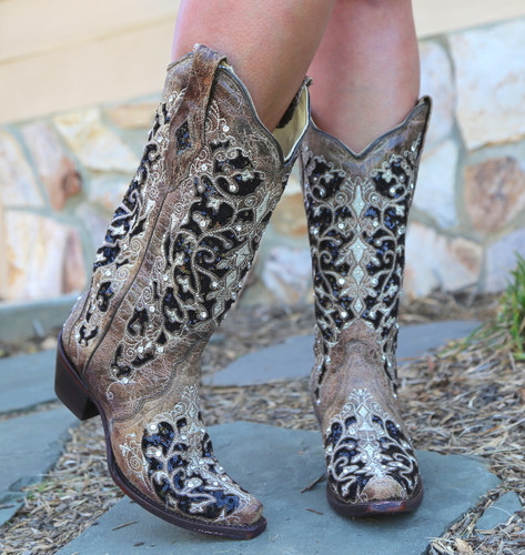 Corral Brown Black Inlay Floral Embroidery Studs and Crystals Boots A3569 Toe