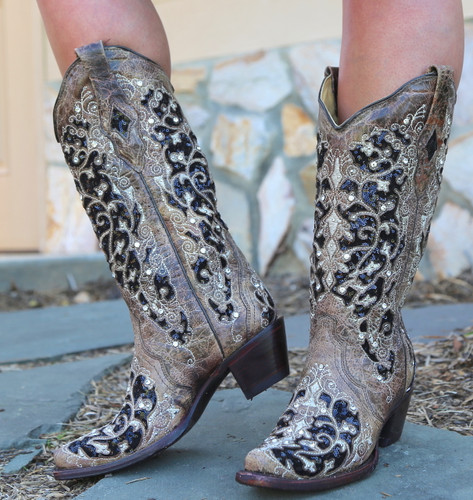 Corral Brown Black Inlay Floral Embroidery Studs and Crystals Boots A3569 Photo