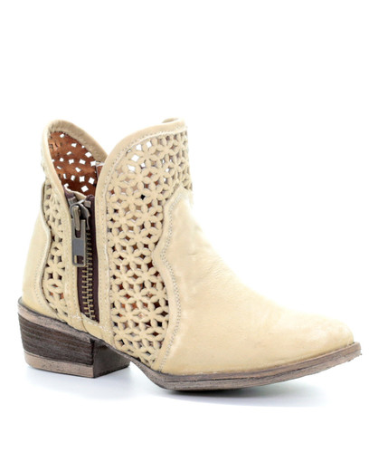 Corral Bone Cutout Shortie Boots Q5018 Picture