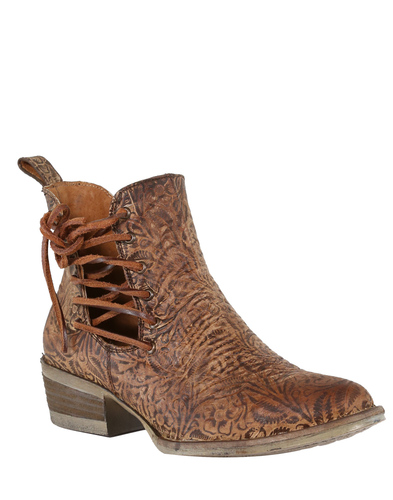 Corral Brown Engraved and Laces Round Toe Ankle Boot Q5004 Picture