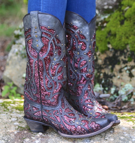 Corral Black Plum Glitter Inlay and Studs Snip Toe Boots C3406 Detail