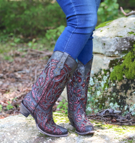 Corral Black Plum Glitter Inlay and Studs Snip Toe Boots C3406 Toe