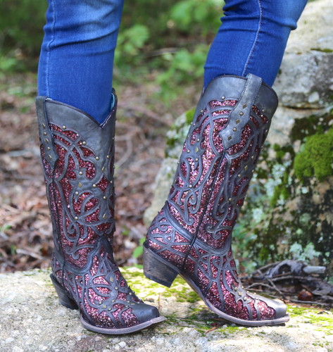 Corral Black Plum Glitter Inlay and Studs Snip Toe Boots C3406 Image