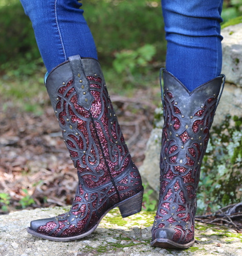 Corral Black Plum Glitter Inlay and Studs Snip Toe Boots C3406 Photo