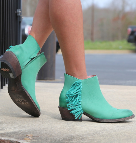 Miss Macie On The Fringe Turquoise Boots U7001-02 Zipper