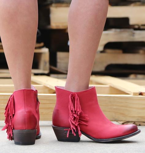 Miss Macie On The Fringe Red Boots U7001-01 Heel