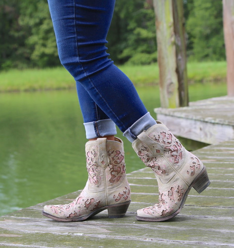 Corral Pink Glitter Inlay and Crystals Ankle Boot A3558 Walk