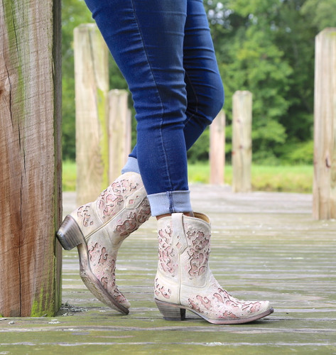 Corral Pink Glitter Inlay and Crystals Ankle Boot A3558 Side