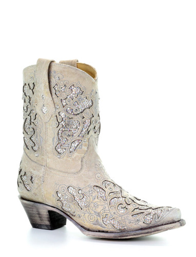 Corral White Glitter Inlay and Crystals Ankle Boot A3550 Picture