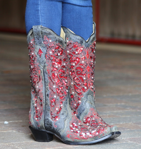 Corral Black Red Glitter Inlay and Crystals Boots A3534 Image