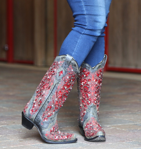 Corral Black Red Glitter Inlay and Crystals Boots A3534 Picture