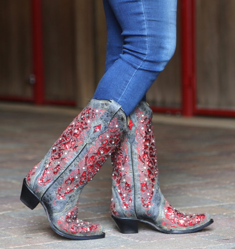 Corral Black Red Glitter Inlay and Crystals Boots A3534 Walk