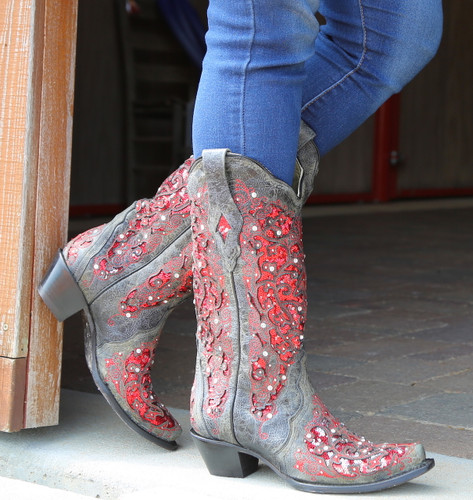 Corral Black Red Glitter Inlay and Crystals Boots A3534 Photo
