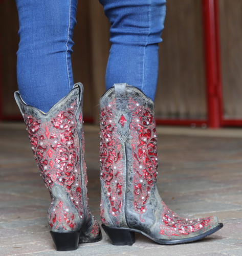 Corral Black Red Glitter Inlay and Crystals Boots A3534 Heel