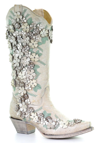 Corral White Floral Overlay Embroidery Studs and Crystals Boots A3600 Manufacturer Photo