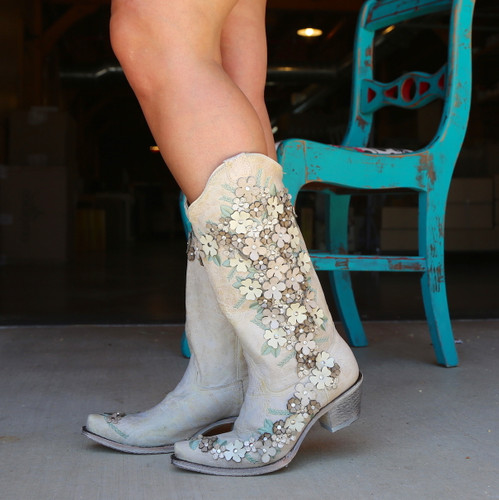 Corral White Floral Overlay Embroidery Studs Crystals Boots A3600 Image
