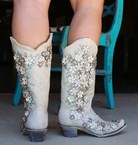 Corral White Floral Overlay Embroidery Studs Crystals Boots A3600 Heel