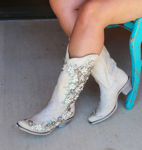 Corral White Floral Overlay Embroidery Studs Crystals Boots A3600 Top