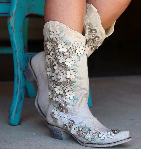 Corral White Floral Overlay Embroidery Studs Crystals Boots A3600 Picture