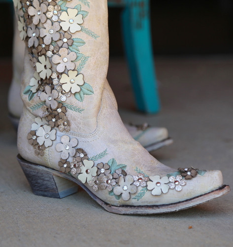 Corral White Floral Overlay Embroidery Studs Crystals Boots A3600 Toe