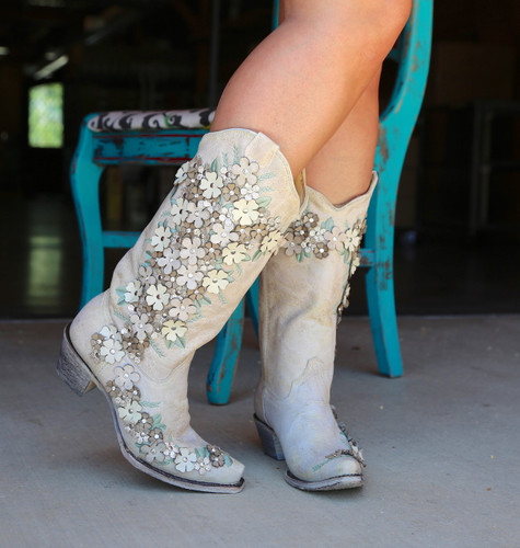 Corral White Floral Overlay Embroidery Studs Crystals Boots A3600 Photo