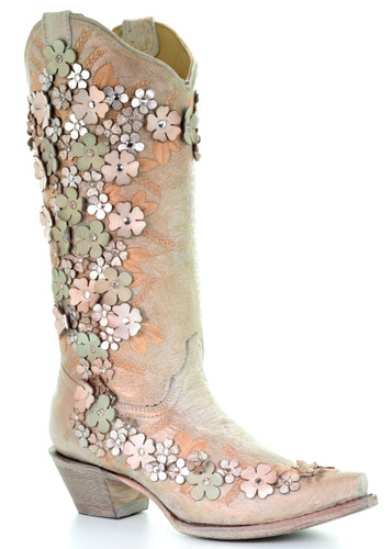 Corral Bone Mint Floral Overlay Embroidery Studs Crystals Boots A3599 Picture