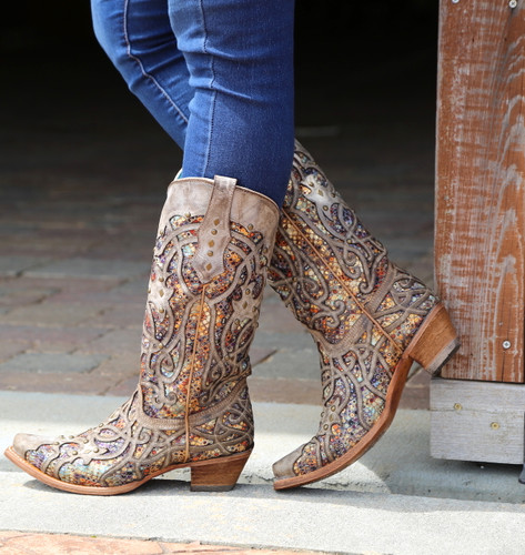 Corral Taupe Inlay and Studs Snip Toe Boots C3409 Side