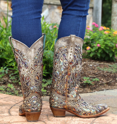 Corral Taupe Inlay and Studs Snip Toe Boots C3409 Heel