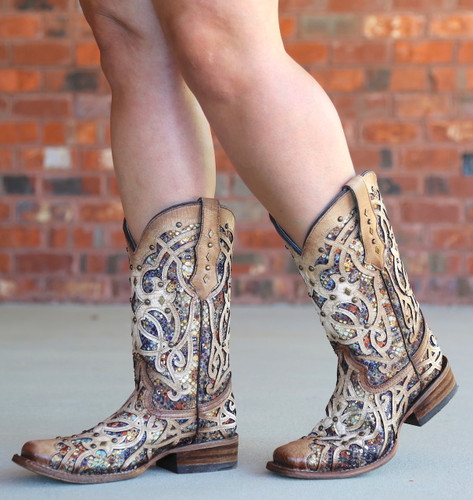 Corral Bone Multi Color Inlay and Studs Sqaure Toe Boots C3405 Walk