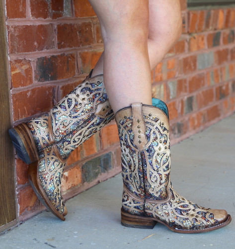Corral Bone Multi Color Inlay and Studs Sqaure Toe Boots C3405 Side