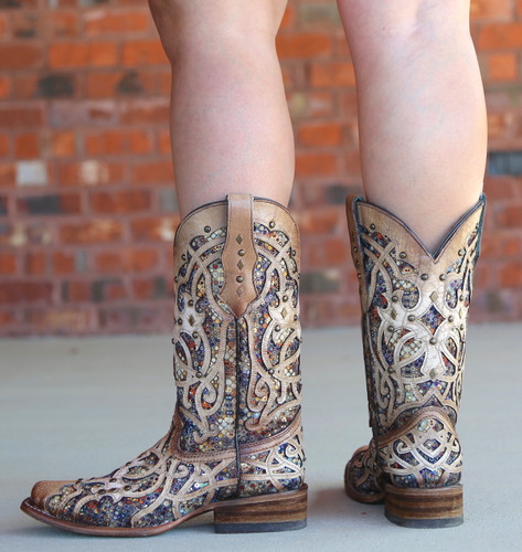 Corral Bone Multi Color Inlay and Studs Sqaure Toe Boots C3405 Heel