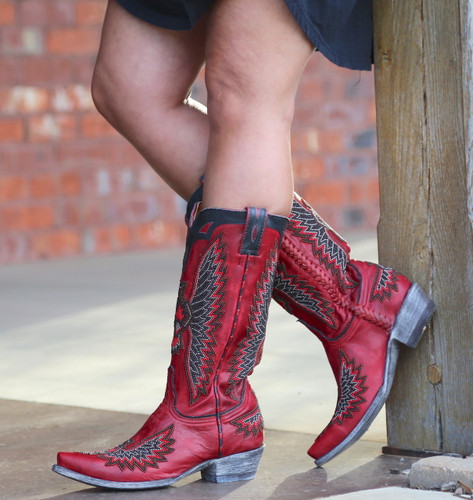Old Gringo Eagle Chaquira Red Black Boots L1567-21 Photo