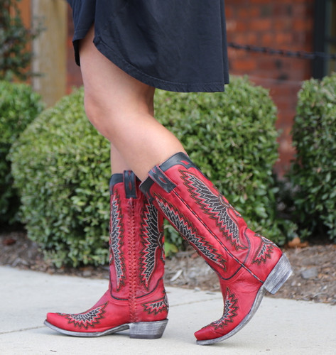 Old Gringo Eagle Chaquira Red Black Boots L1567-21 Walk