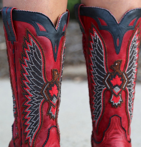 Old Gringo Eagle Chaquira Red Black Boots L1567-21 Beaded