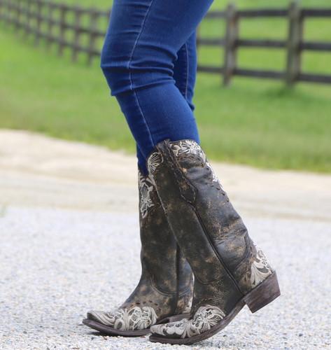 Old Gringo Erin Black Bone Boots L640-21 Toe