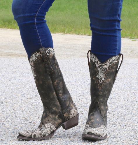 Old Gringo Erin Black Bone Boots L640-21 Front