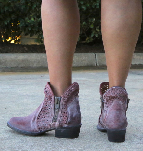 Corral Wine Cutout Shortie Boots Q5063 Heel