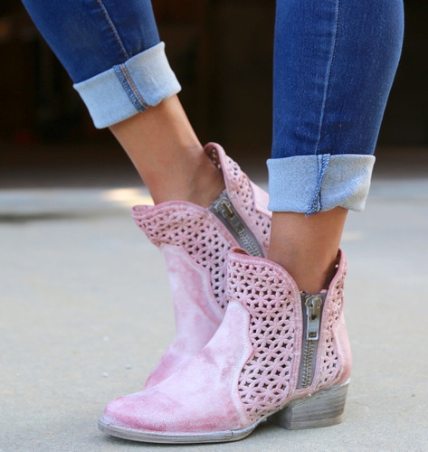 Corral Pink Cutout Shortie Boots Q5062 Picture