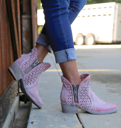 Corral Pink Cutout Shortie Boots Q5062 Zipper