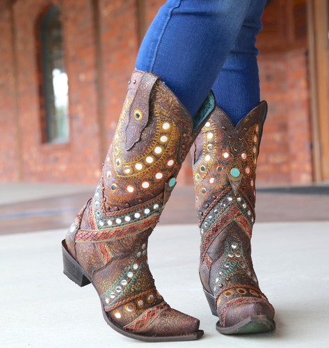 Corral Green Studs Embroidery Crystals Boots C3395 Toe