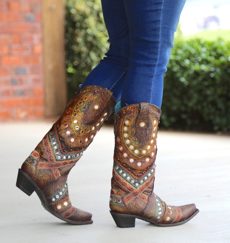 Corral Green Studs Embroidery Crystals Boots C3395 Walk