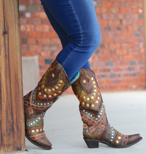 Corral Green Studs Embroidery Crystals Boots C3395 Photo