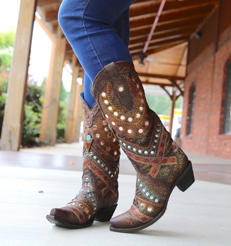 Corral Green Studs Embroidery Crystals Boots C3395 Image